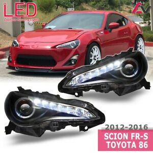 12-16 For Scion FR-S Toyota 86 Black Clear Projector Headlights LED DRL Bar