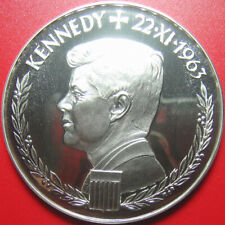 ND (1963) GERMANY ARGENTEUS 3 DUCAT 1.43oz SILVER PROOF JFK KENNEDY RARE!!! 50mm