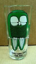 Pepsi Vtg Visual Creations Advertising Glass Tumbler Owl Only Have Eyes For You