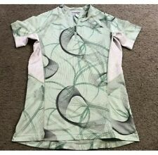 SALOMON M Sports T Shirt Top Green Gray White Breathable Yoga Athletic Qtr Zip