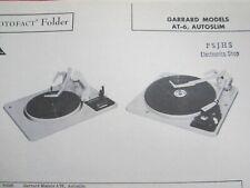GARRARD AT-6 & AUTOSLIM RECORD CHANGER TURNTABLE PHOTOFACT
