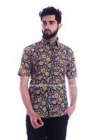 Herren Hawaii Tropisch Vintage Blumenmuster Sommerhemd Knöpfe Strand Top