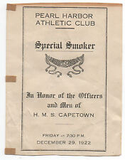 1922 Boxing Program at Pearl Harbor to Honor Men of the Ship H.M.S. Capetown