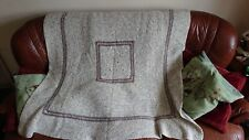 Hand Knitted Oatmeal Coloured Granny Festival Blanket Throw