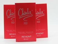 CHARLIE RED by Revlon Perfume 3.4 oz edt New in Box (Pack of 3)