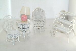 Victorian White Metal Wicker Chair Birdcage Table Planter Dollhouse Miniatures