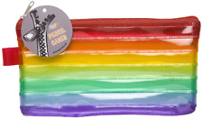 Colourful Rainbow Flat Transparent Pencil Case Red Zip 19 x 10 cm  School