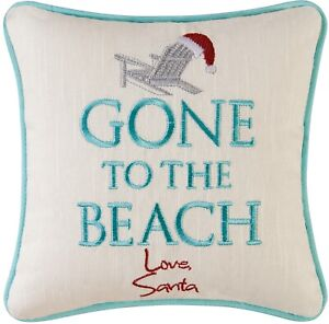 Santa Gone to the Beach Accent 10 Inch Coastal Holiday Square Throw Pillow