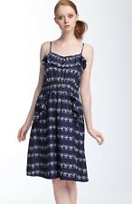 MARC BY MARC JACOBS  Bow Prints Ruffle Front Blue Silk Dress size 4