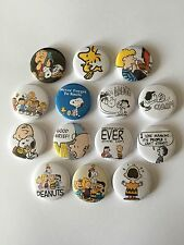 14 Peanuts button Badges Charlie Brown Snoopy Linus Woodstock Peppermint Patty