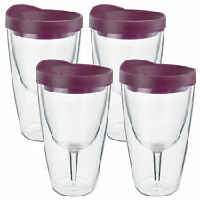 Insulated Wine Tumbler 16oz Merlot Drink Slide Lid Acrylic Adult  Cup 4 Pack