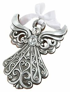Silver Angel Ornament Antique Finish Poly Resin Religion Ribbon Display Box New