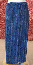 NEW YORK CITY DESIGN CO blue abstract pleated maxi skirt L (T10-0DF8G)