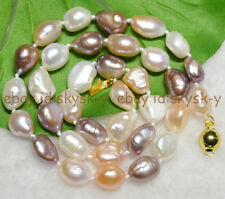 """9-10mm Natural Baroque White Pink Purple freshwater pearl necklaces 18"""" AA"""