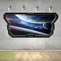 SPACE WALL STICKER WINDOW 3D LOOK - MOON PLANET GALAXY STARS BOYS BEDROOM  Z369
