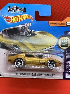 Hot Wheels 2017 Mainline '68 Corvette Gas Monkey Garage, Gold SHORT CARD VHTF