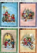 PRECUT CHILDREN SNOW PLAY WINTER CARD  PAPER TOLE DIMENSIONAL GERMAN  ORNAMENT