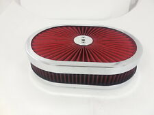 """12"""" Super Flow Oval Air Cleaner Set With Washable Red Element & chrome top"""