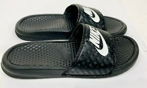 Nike 343881-011 Benassi JDI Black/White Slides, Women's Slip On Sandal US Size 8