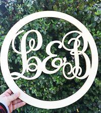 Monogram 16.5 in. Initials Wood Circle Door Sign, Front door decor, personalized