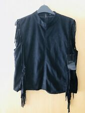 Brand New With Tags Womems Zara Faux Suede Tassel Top Size L