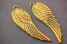 "4 Large Antique Gold ANGEL BIRD WINGS Pendants reversible design 2"" long chg0079"