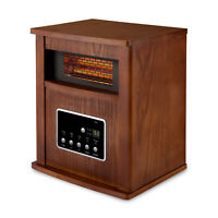 Limina Portable Electric 1500W Infrared Quartz Cabinet Space Heater, Dark Walnut