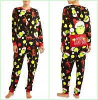 The Grinch Union Suit Pajama Plus Size 2X Women One Piece Dr Seuss Men Drop Seat
