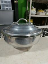"""Vintage Pyrex #595 divided Glass 9.75"""" and aluminum chafing dish with lid."""