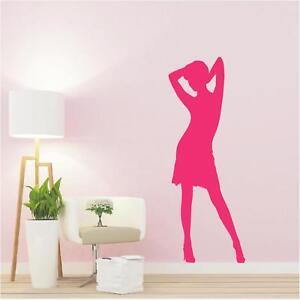 Schatten Wandtattoo  Frau tanzt in Sexy Pose bis Lebensgröße Wandaufkleber