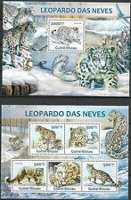 "GUINE-BISSAU - 2013 MNH ""Snow Leopards - WILD ANIMALS"" Two Souvenir Sheets !!"