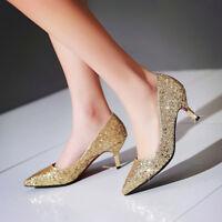 Womens Pointed Toe Slip On Kitten Med Heel Pumps Wedding Shoes Plus Size