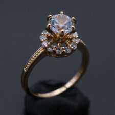 Fine Jewelry Natural diamond solid 14k yellow gold 1.33 ct Round Cut Rings 6.0#