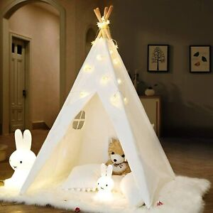 Large Canvas Children Kids Indian Tent Teepee Wigwam Indoor Outdoor Play House~