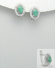Sterling Silver Oval Genuine Emerald and CZ Antique-Style Earrings French Clips