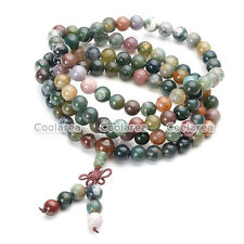 Mens Natural India Agate Bracelet Wrist Necklace Buddhist Beads Paryer Mala Cuff