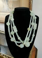 3 strand Carved Jade Bead Necklace Vintage Estate Jewelry 14k clasp