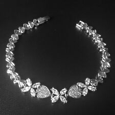 Wedding Heart Flower Tennis Silver Bracelet Marquise CZ Cubic Zirconia Chain