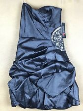 Teeze Me Pewter Ruched Embellished Strapless Prom Dress 3 Never worn with Tags