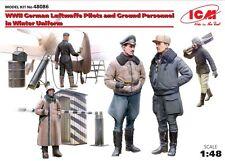LUFTWAFFE PILOTS & GROUND PERSONNEL W/WINTER UNIFORMS (5 FIGURES) 1/48 ICM NEW