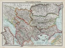 Turkey &  The Balkans  Map  in 1908