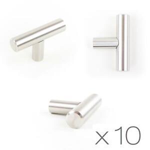 10x T-Bar Knob Brushed Steel Kitchen Cupboard Cabinet Drawer Door Handles