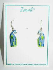 Zarah Sterling Silver Blue/Green Enamel Standing Cat Hook Earrings