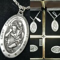 SAINT CHRISTOPHER PROTECT US MEDAL Necklaces NOS BOXED VINTAGE JEWELRY LOT PRAY