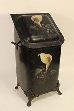 Antique Fireplace Coal Bucket Hod Scuttle Bin Tole Ware Painted Tulip Flowers
