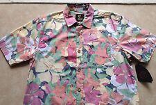 NEW MEN HANG TEN TROPICAL PARADISE FLOWER BUTTON DOWN HAWAIIAN DRESS T SHIRT M