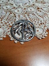 Vintage Sterling Silver Birds Under Palm Tree Circle Pin