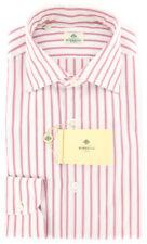 New $450 Luigi Borrelli Pink Striped Shirt - Extra Slim - 16/41 - (EV1878RIO)