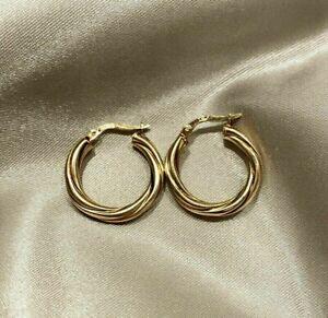 Quality Italian medium vintage twist 9ct yellow gold creole hoops 1.6 grams