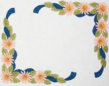 Daisy Floral Ribbon Embroidered quilt label blue to personalize w/text included